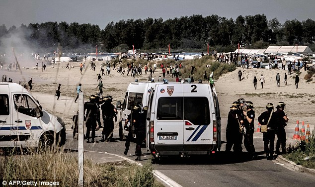 Dozens of French riot police officers were involved in today's disturbances
