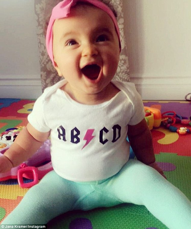 Learning her alphabet! Kramer shared an extra cute photo of her baby daughter clad in a ABCD shirt on Wednesday
