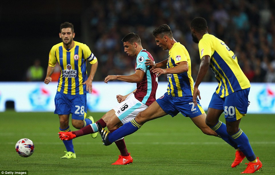 Argentine forwardJonathan Calleri was played behind the lone striker but could not find a way past Stanley in the first half