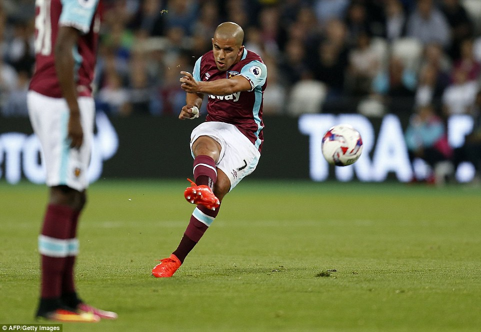 Feghouli takes matters into his hands as he strikes a free-kick in the first half of EFL third round action at the London Stadium