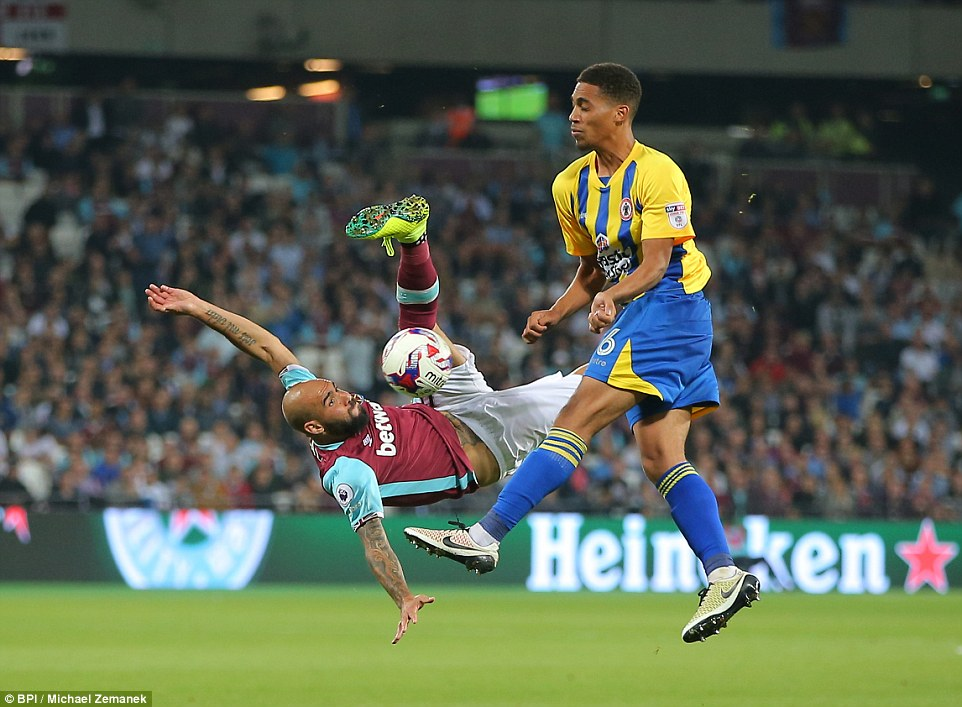 Zaza was pulling out all the stops to try and find a breakthrough for West Ham, here the Italian attempts an overhead kick