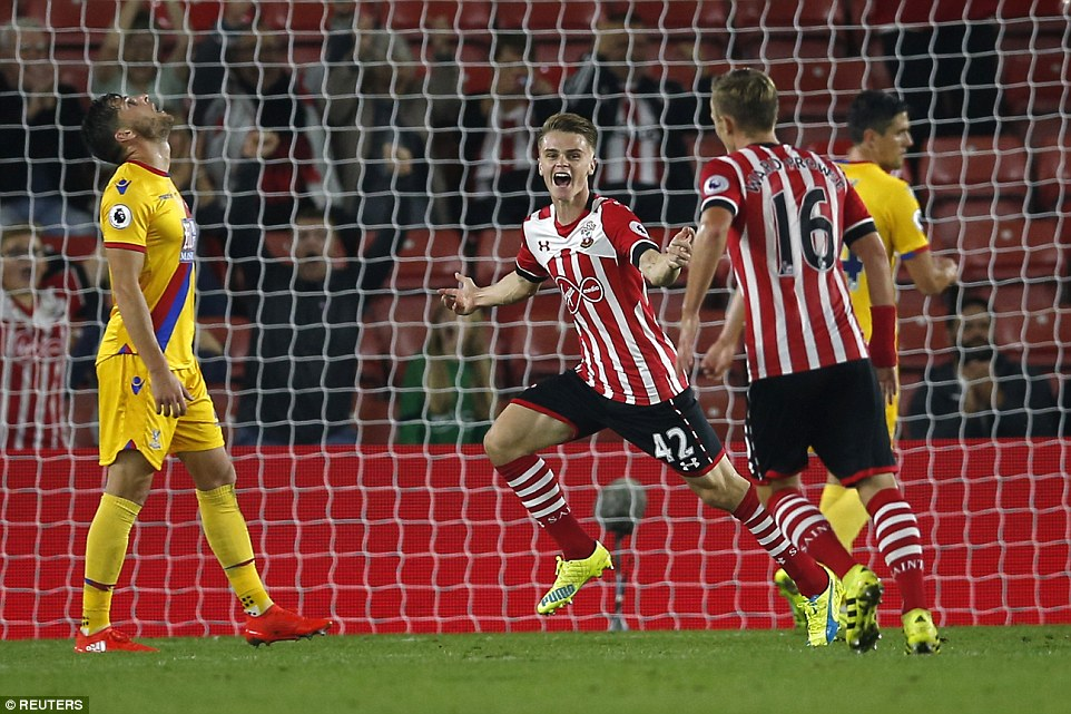 The highly-rated Southampton youngster races away to celebrate as Palace ponder another goal conceded