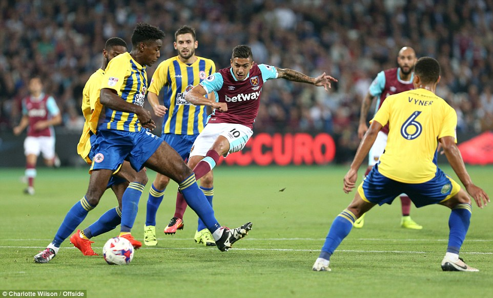 Lanzini tries another shot as deep into the second half West Ham still could not find a way through the League Two side