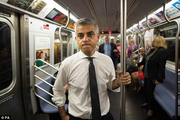 Sadiq Khan (pictured) travelled on the subway from Harlem to the 9/11 Memorial in downtown Manhattan, where he laid flowers to remember the 3,000 victims
