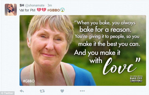 Upsetting stuff:The retired headmistress' sign off speech particularly tugged at the heartstrings of the viewers at home when she revealed everything she makes is created with love