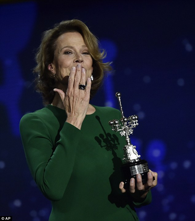 Getting political: Ahead of the awards ceremony, Sigourney attended a press conference where she expressed her support for U.S presidential candidate Hillary Clinton