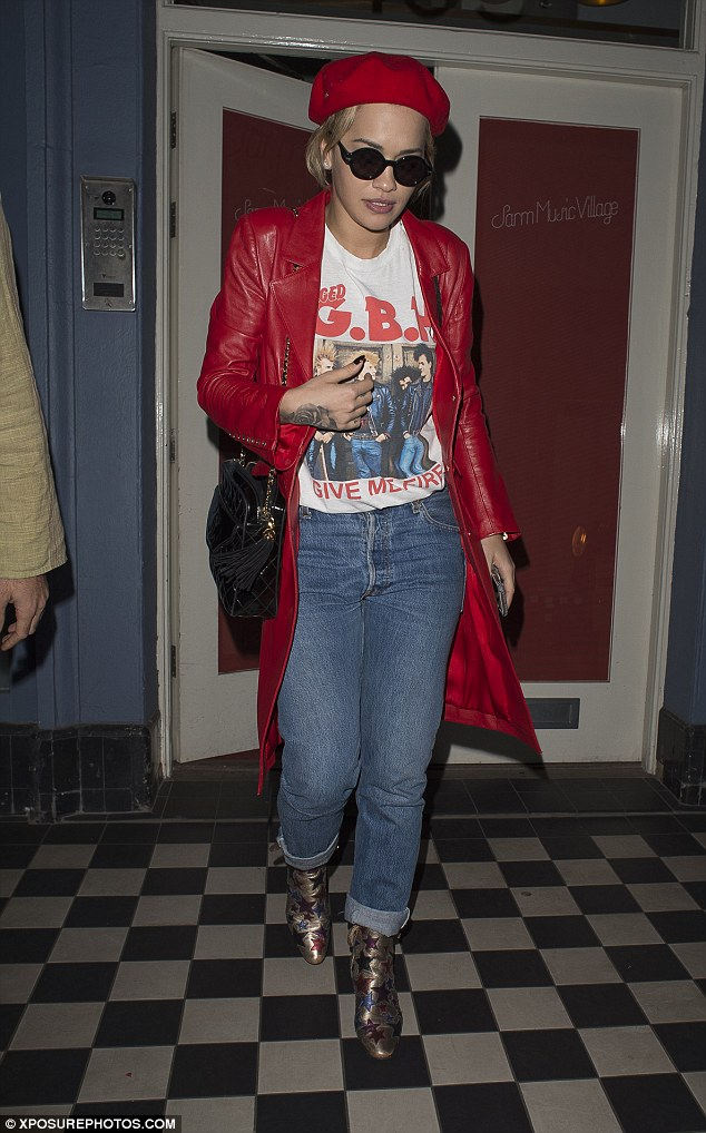 Back in the studio: Rita Ora appeared to be making headway on her new music since she was spotted leaving a London music studio on Wednesday