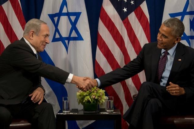Prime Minister of Israel Benjamin Netanyahu speaks to U.S. President Barack Obama during a bilateral meeting in New York City on September 21, 2016