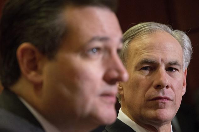 FILE - In this Dec. 8, 2015, file photo, Texas Gov. Greg Abbott. right, listens to Republican presidential candidate Sen. Ted Cruz, R-Texas, left, speak abou...