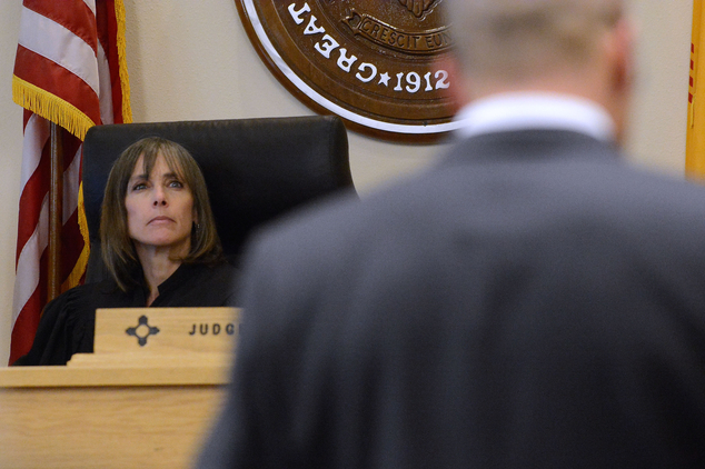 Judge Alisa Hadfield looks to defense attorney Luis Robles as he asks questions of the prosecutions expert witness Jeffrey Noble in court on Tuesday Sept. 20...