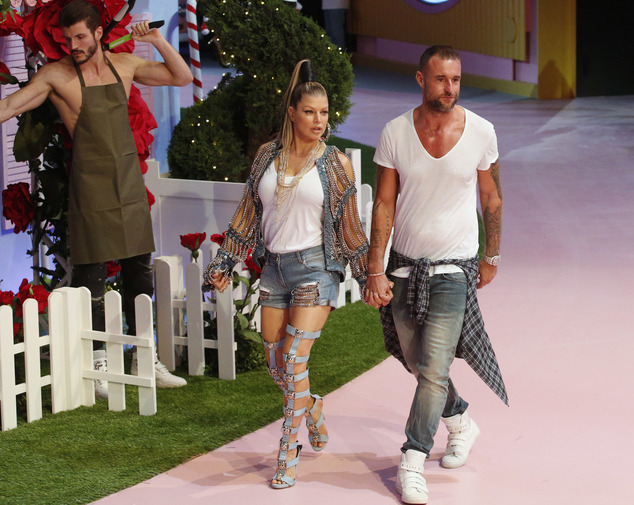German fashion designer Philipp Plein and American singer Fergie take the catwalk at the end of his women's Spring-Summer 2017 collection, part of the Milan ...