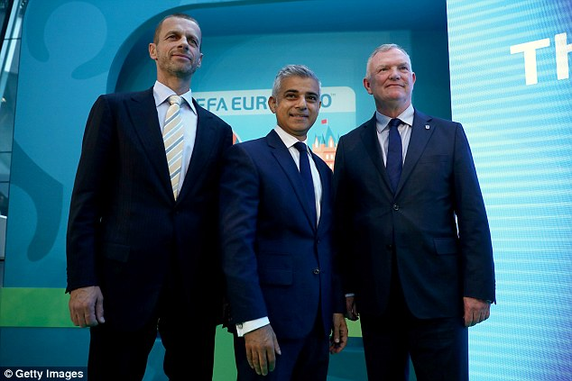 Ceferin was speaking alongside Mayor of London Sadiq Khan (centre) and FA chairman Greg Clarke during the UEFA Euro 2020 launch in London