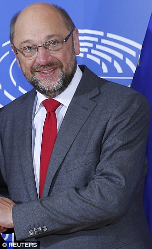 Crunch talks: Mrs May will today meet with Martin Schulz, pictured, the socialist leader of the European Parliament