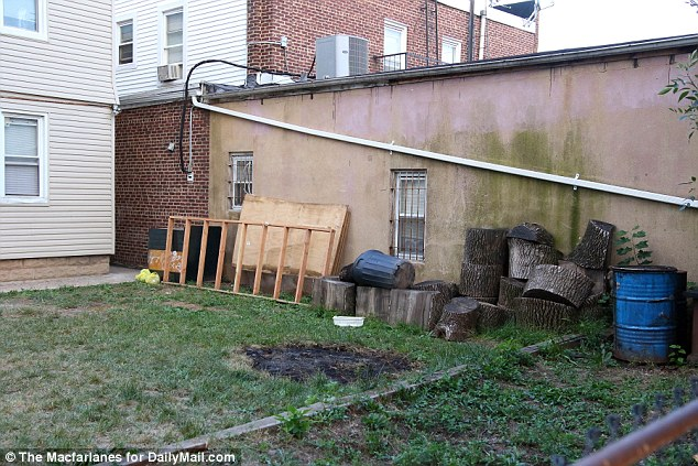 Burn marks can be seen in the backyard of Rahami's family home which the FBI believe are evidence of the chicken shop bomber practicing his attack