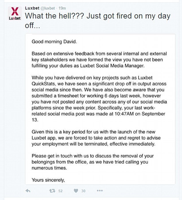 Dave posted a screenshot of an email he claims was sent to him terminating his job because he had failed to fulfil his employment duties