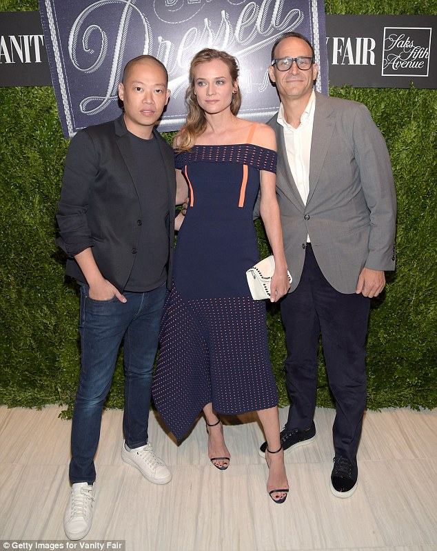 Her men:She posed up a storm on the red carpet with designer Jason Wu and Marc Metrick