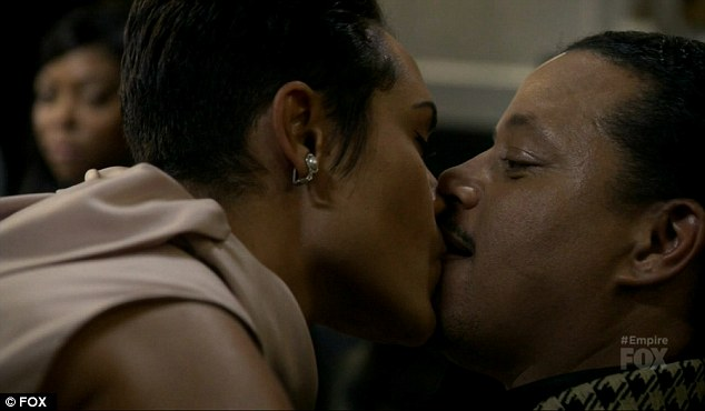 Big kiss: Anika and Lucious even kissed to throw Tariq off