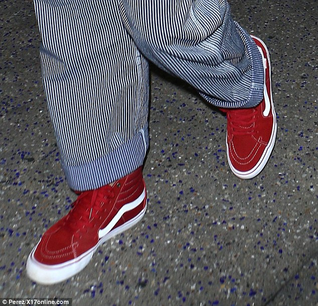 West Coast wonder: Chris, who is set to next star in DC's highly anticipated Wonder Woman film, rounded his hipster look off with a pair of red high-top VANS skate shoes