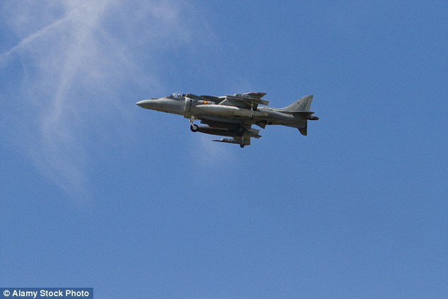 Crash: The military aircraft is believed to be aa AV8B Harrier II jet (file photo)