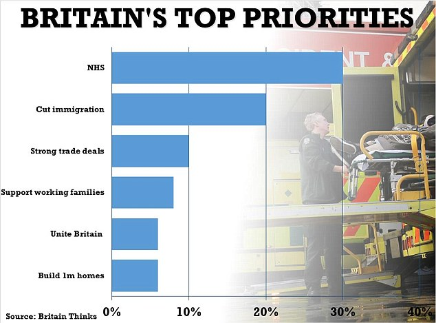 Britons rank the NHS, cutting immigration and signing strong trade deals as their top priorities, a new poll reveals