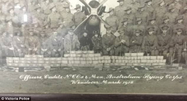 The pictures include black and white images of officers in the Australian Flying Corps in 1918, while others appear to be old family photos