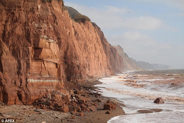 Dangerous stretch:Witness Sarah Mansell said the area is a 'death trap' and there was a huge cliff fall last week at the very spot where the boys were taking selfies (file picture of Sidmouth)