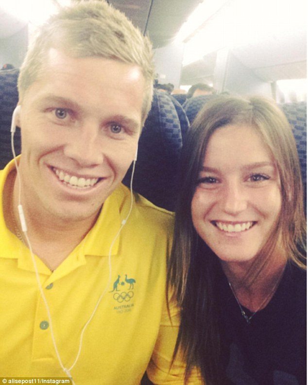 Willoughby (pictured with his fiancee Alise Post) was airlifted to hospital after the accident at Chula Vista bike track in California earlier this month.