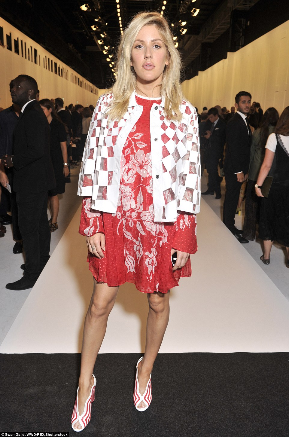 Jet-setter: Ellie Goulding jetted over from her London home for Milan Fashion Week, and was among the show attendees