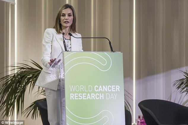 Letiziacalled on individuals to help to promote cancer research, saying: 'It's time to push with scientific research to advance on the road to a cure for cancer'