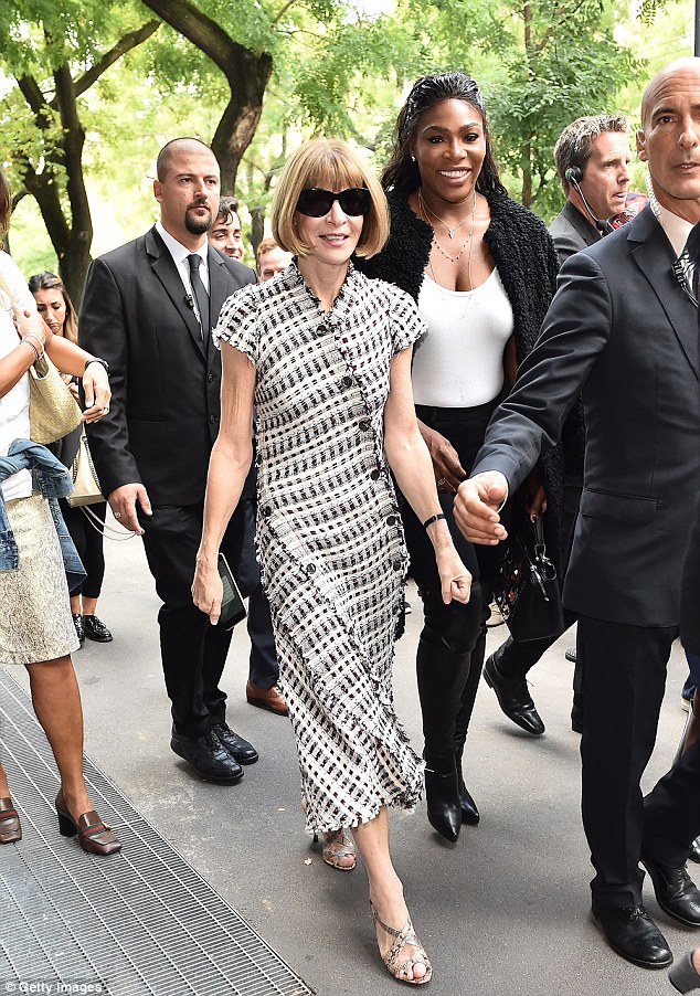 Fashion friends: Anna Wintour, 66, and Serena Williams, 34, were together again on Thursday when they headed to the Fendi SS17 show side by side