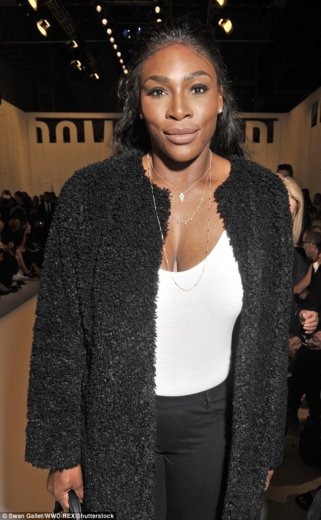 Smile: Serena tied her lustrous locks back and sported classily applied make-up which emphasised her defined cheekbones
