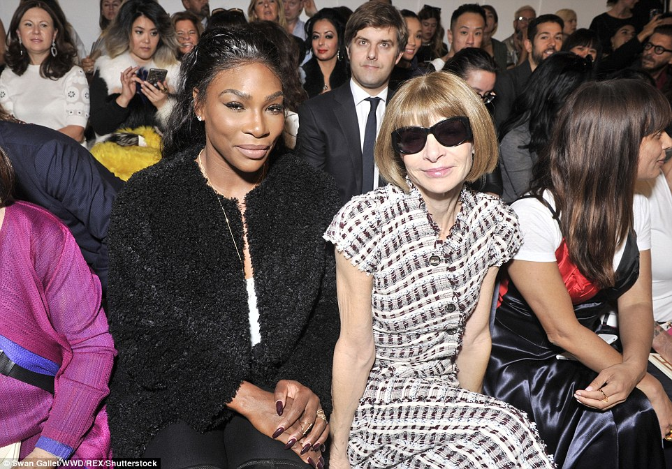 Front row friends: Vogue editor Anna Wintour sat in a prime front row seat alongside enduring tennis ace Serena Williams