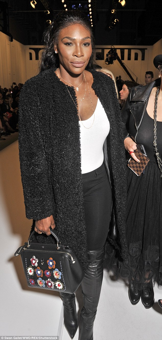 Dressed to impress: Tennis ace Serena put one a more reserved display than her busty braless look from the day before, but she still caught the eye