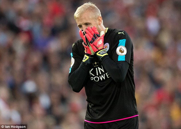 Kasper Schmeichel is an injury doubt for Leicester's trip to Manchester United