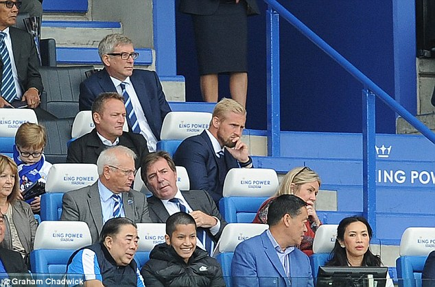 Schmeichel watched the Foxes' 3-0 victory over Burnley from the stands last weekend
