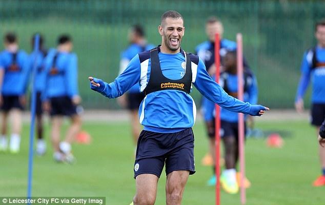 Islam Slimani, who scored twice against Burnley last weekend, looks to be in good spirits