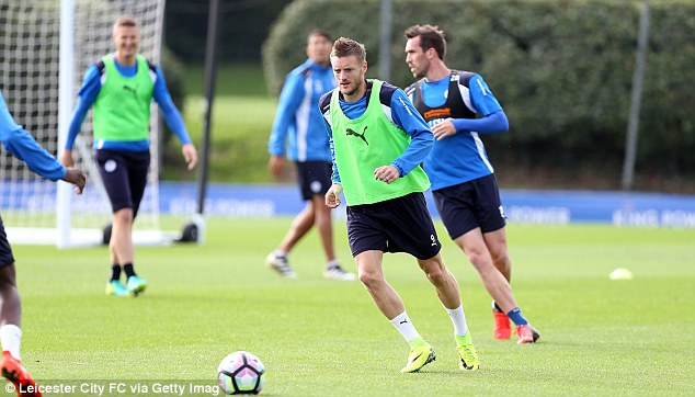 Jamie Vardy keeps his eye on the ball during the session as he prepares to go to Old Trafford