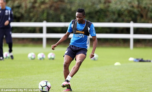 Leicester striker Ahmed Musa passes the ball in training on Thursday