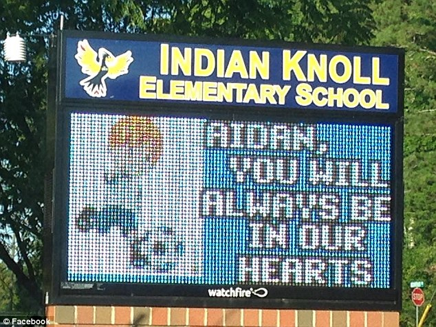 The school where Aiden attended paid tribute to the young boy on its digital sign