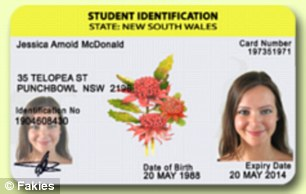 The website offers fake identifications and proof of age cards for most Australian states