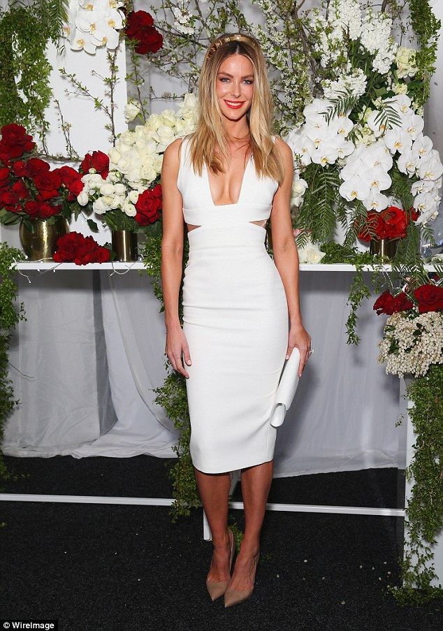 Busy lady! The former Miss Universe Australia is hot off the heels of the Myer Spring Summer launch, where she led models on the runway last month (Pictured at Optic White Stakes Day at Royal Randwick Racecourse on Saturday)