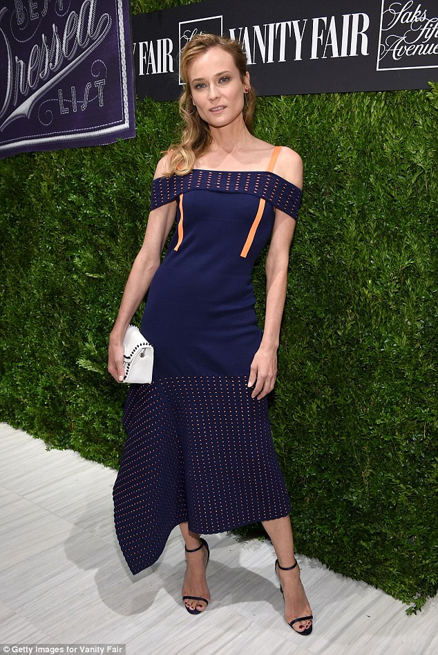 Stunning: Just the previous day Kruger stunned as she attended the Vanity Fair party in the Big Apple