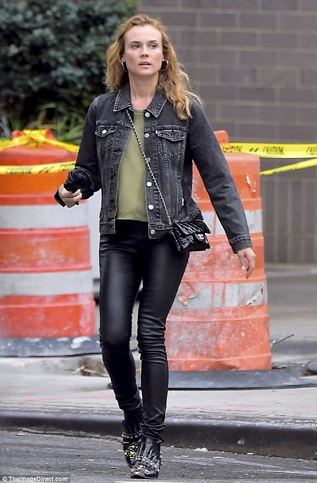 Looking good: Diane Krugeropted for a bit of rock chic while out and about in New York City on Thursday