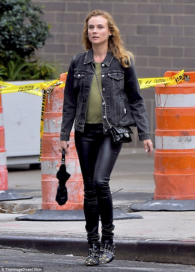 On the prowl: The 40-year-old actresswas dressed perfectly for the first day of Autumn as she sported a faded black denim jacket and leather trousers