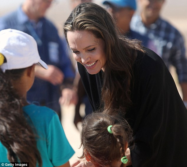 Work: The 41-year-old actress was greeting children at theAzraq refugee camp
