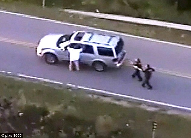 Aerial footage shows the moments before he was fatally shot by Shelby