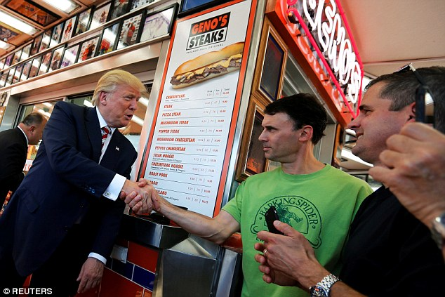 Donald Trump got cheesesteaks at Geno's in Philadelphia on Thursday, completing a Pennsylvania political pilgrimage that tripped up a Democratic candidate in 2004 – and The Donald's order came with onions and Cheese Whiz