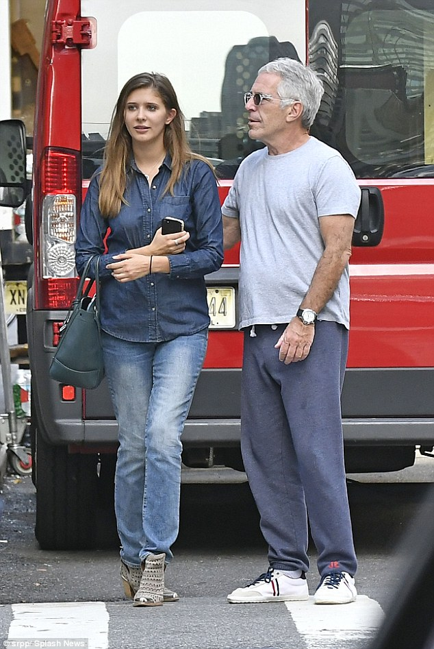 Registered sex offender Jeffrey Epstein was spotted out in New York City on Thursday with a young, female companion (above)