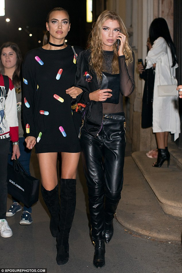 Fashionable friends: The pair looked uber chic as they headed home after the presentation