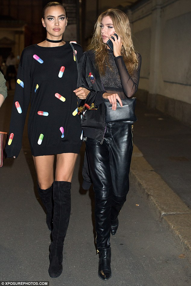Heading home: Irina left the show with fellow model Stella Maxwell